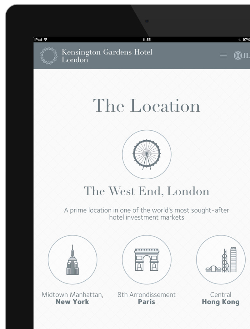 Kensington Gardens Hotel on iPad
