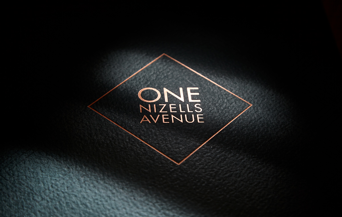 One Nizells Avenue brochure cover with foil