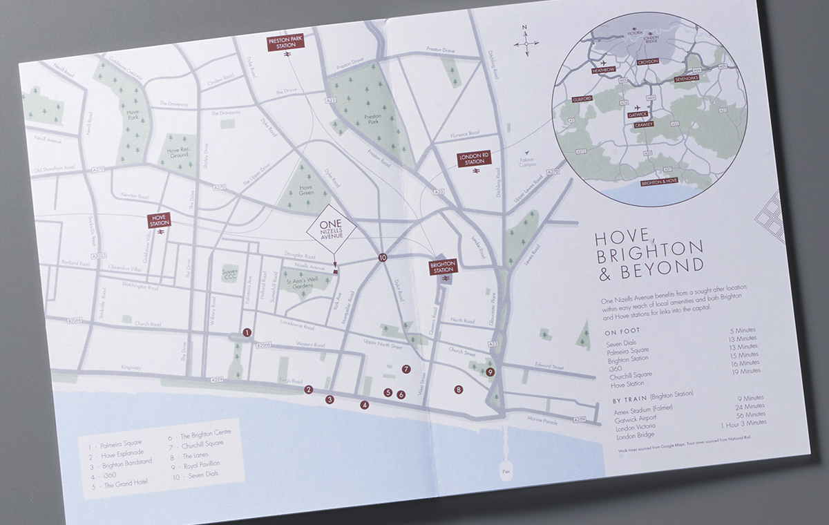One Nizells Avenue map brochure spread