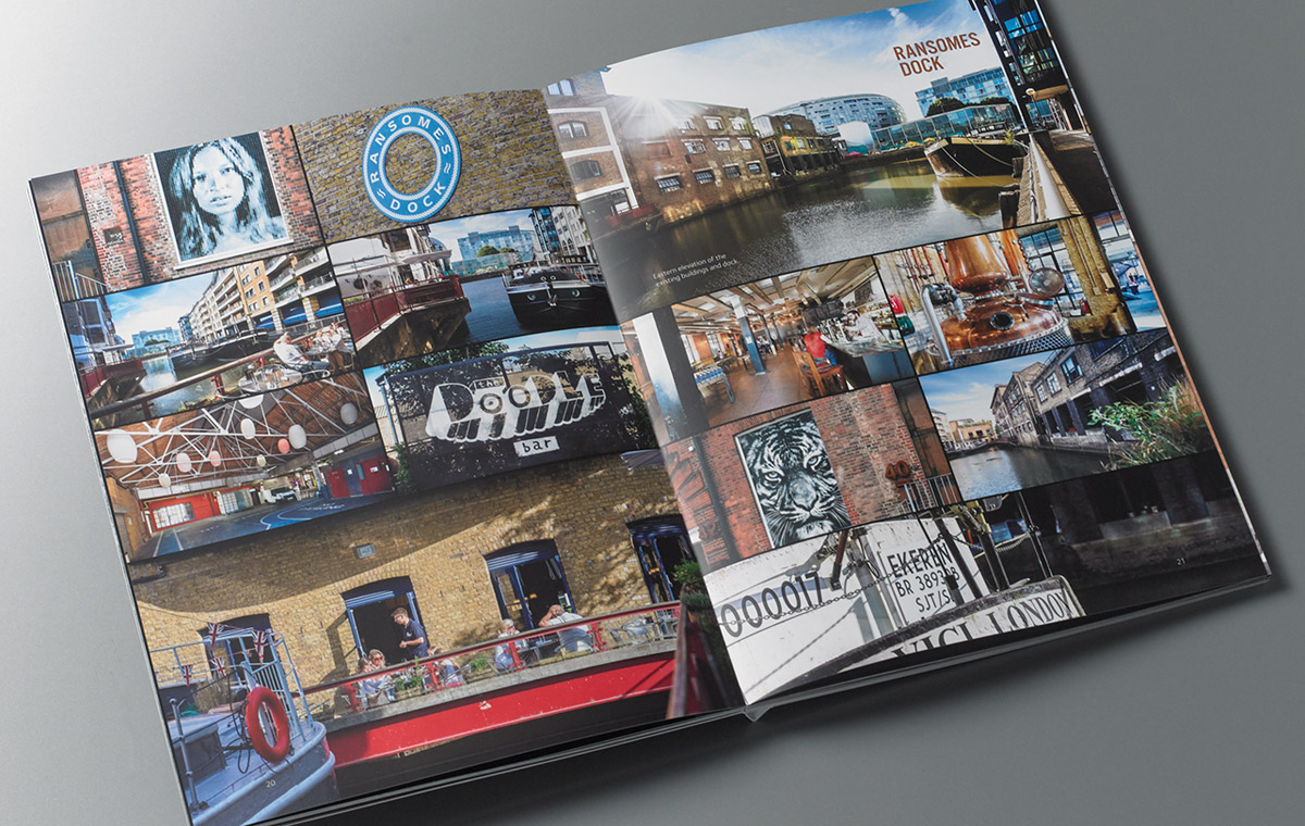 Ransome's Wharf brochure spread of location
