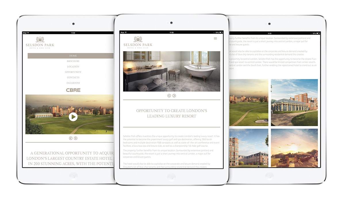 Selsdon Park Hotels website viewed on iPad