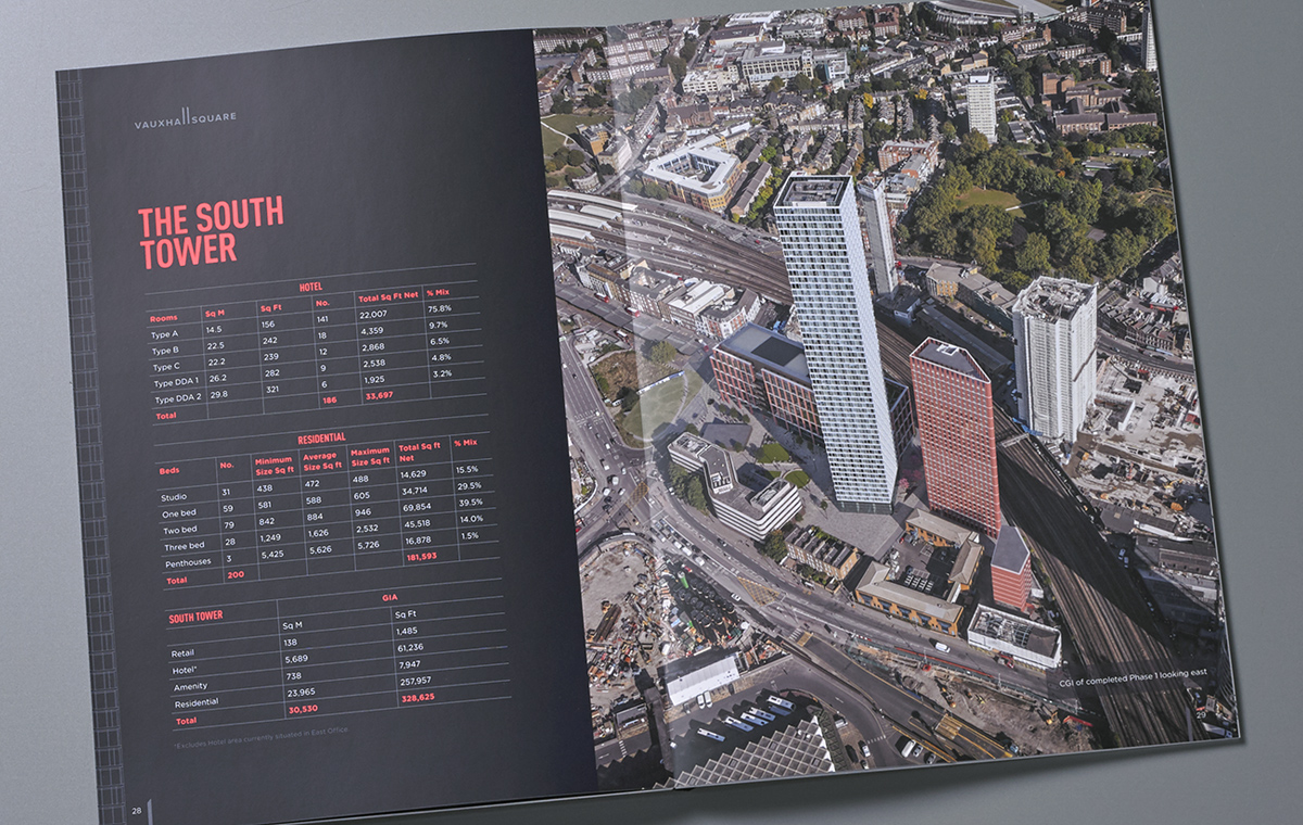 Vauxhall Square brochure cover and spread