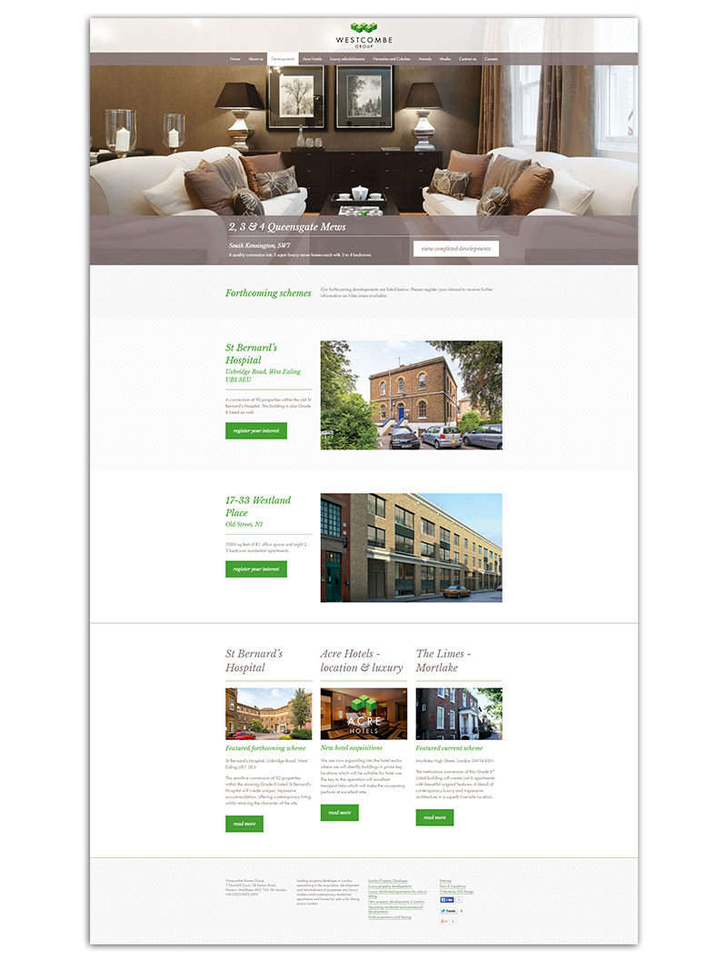 Westcombe Homes website page
