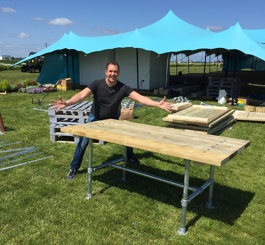 Creative Director-come-craftsman Craige is hard at work putting together the furniture and displays for the annual Cereals event,